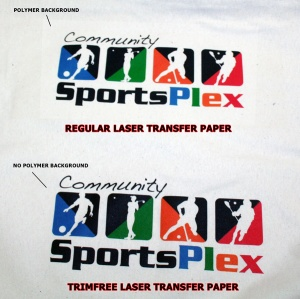 TrimFree and Regular Laser Transfer Paper comparison